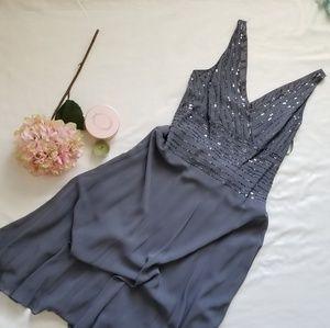 Jones New York dress grey silk v-neck